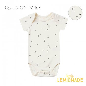 <img class='new_mark_img1' src='https://img.shop-pro.jp/img/new/icons1.gif' style='border:none;display:inline;margin:0px;padding:0px;width:auto;' />【Quincy Mae】 SHORT SLEEVE ONEPIECE IVORY BLUEBERRY 【3-6か月/6-12か月/12-18か月】 QM079VY SS21 ロンパース YKZ