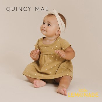 <img class='new_mark_img1' src='https://img.shop-pro.jp/img/new/icons1.gif' style='border:none;display:inline;margin:0px;padding:0px;width:auto;' />【Quincy Mae】 SHORT SLEEVE BABY DRESS GOLD 【12-18か月/18-24か月/2-3歳】 QM008LD SS21 星柄 ワンピース YKZ
