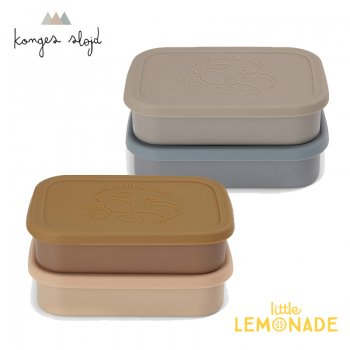 【Konges Sloejd】 2 PACK FOOD BOXES LID SQUARE 【BLUE/ROSE】 フードボックス お弁当箱 ナチュラルカラー (KS2300)