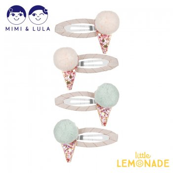 <img class='new_mark_img1' src='https://img.shop-pro.jp/img/new/icons1.gif' style='border:none;display:inline;margin:0px;padding:0px;width:auto;' />【Mimi&Lula】POM POM ICE CREAM CLIC CLACS PASTELS/アイスクリームヘアクリップ4個セット 女の子 ヘアアクセサリー(702000 47)