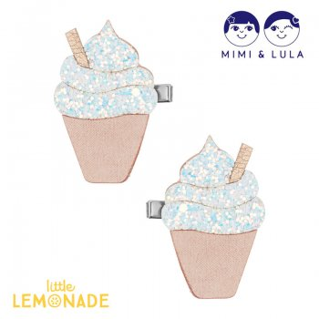 <img class='new_mark_img1' src='https://img.shop-pro.jp/img/new/icons1.gif' style='border:none;display:inline;margin:0px;padding:0px;width:auto;' />【Mimi&Lula】 GLITTER ICE CREAM CLIPS WHITE/ソフトクリームヘアクリップ2個セット 女の子 ヘアアクセサリー(70200218)