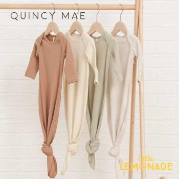 <img class='new_mark_img1' src='https://img.shop-pro.jp/img/new/icons1.gif' style='border:none;display:inline;margin:0px;padding:0px;width:auto;' />【Quincy Mae】 RIBBED KNOTTED BABY GOWN TERRACOTTA/NATURAL/SAGE QM073SE ベビーガウン 新生児  SS21