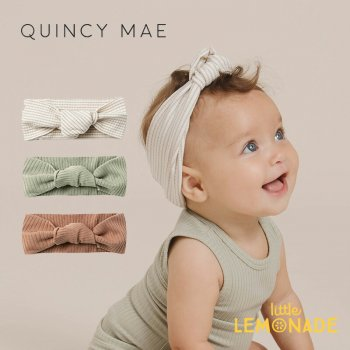 <img class='new_mark_img1' src='https://img.shop-pro.jp/img/new/icons1.gif' style='border:none;display:inline;margin:0px;padding:0px;width:auto;' />【Quincy Mae】 RIBBED BABY TURBAN ASH-STRIPE/SAGE/TERRACOTTA 【0-12か月/12-24か月】ベビーターバン ヘアバンド  SS21 YKZ