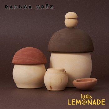 【Raduga Grez】 マトリョーシカ マッシュルーム 4点セット きのこ ロシア製 積み木 木製 おもちゃ 【Matryoshka Mushroom】 RG02037