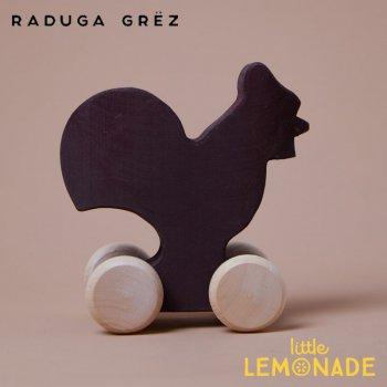 【Raduga Grez】  にわとりのおもちゃ 車輪付き ロシア製 積み木 木製 おもちゃ 【Vehicle Black hen】 RG05024