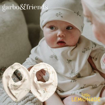 【garbo&friends】  トライアングル ビブ 【ツバメ柄 / 勿忘草柄】 Swallows Forget Me Not  Bib スタイ 出産祝い コットン100%