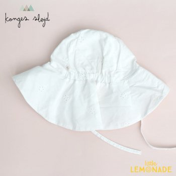 【Konges Sloejd】 POSEY BONNET  【6-9か月/12-18か月】 つば付き ハット 日よけ ひも付 ホワイト 小花柄 YKZ (KS2381)