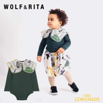 <img class='new_mark_img1' src='https://img.shop-pro.jp/img/new/icons1.gif' style='border:none;display:inline;margin:0px;padding:0px;width:auto;' />【WOLF&RITA】 AURORA LOVE THEATER BODYSUIT 【6-12か月/12-18か月/18-24か月】 緑 襟付き ロンパース WRBAW21AULT 21AW YKZ
