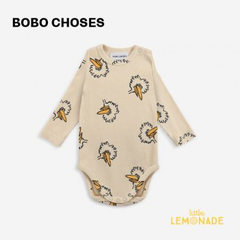 <img class='new_mark_img1' src='https://img.shop-pro.jp/img/new/icons1.gif' style='border:none;display:inline;margin:0px;padding:0px;width:auto;' />【BOBO CHOSES】 Birdie All Over body 【6-12か月 / 12-18か月】  221AB002 鳥 黄色 長袖ボディ 21AW YKZ