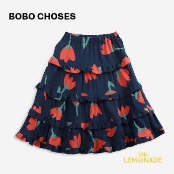 【BOBO CHOSES】 Big Flowers woven ruffle skirt 【4-5歳 / 6-7歳 / 8-9歳】  221AC115  花柄 スカート 21AW YKZ