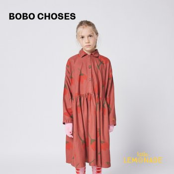 【BOBO CHOSES】 Big Flowers woven buttoned dress 【6-7歳 /8-9歳】  221AC104 花柄 長袖 ワンピース  21AW YKZ