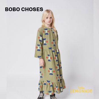 <img class='new_mark_img1' src='https://img.shop-pro.jp/img/new/icons1.gif' style='border:none;display:inline;margin:0px;padding:0px;width:auto;' />【BOBO CHOSES】 Figure All Over woven midi dress 【6-7歳 /8-9歳】  221AC102 幾何学 長袖 ワンピース  21AW YKZ