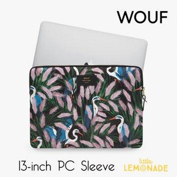 【WOUF】  13インチ PCケース 【Lucy】 パソコン用スリーブ Macbook Pro 13inch PC Sleeve 鳥 ボタニカル ピンク (S210010)