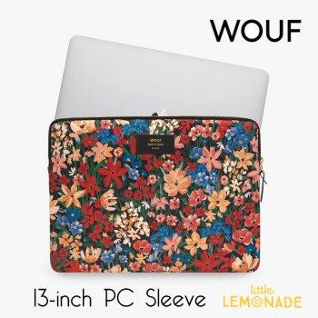 【WOUF】  13インチ PCケース 【Camila 】 パソコン用スリーブ Macbook Pro 13inch PC Sleeve 花 赤 オレンジ(S210012)