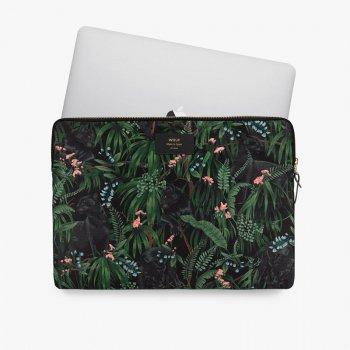 【WOUF】 15インチ PCケース 【Janne】 パソコン用スリーブ Macbook Pro 15/16 inch PC Sleeve  黒豹 ブラック ヒョウ ボタニカル (SB210011)