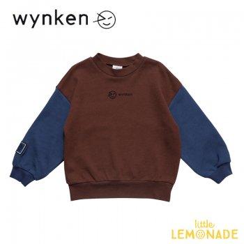 【wynken】 Band Sweat / MARRON  NIGHT BLUE   【 4歳 / 6歳 / 8歳 】 WK11J06 子供服 長袖 スエット バイカラー ウィンケン 21AW YKZ