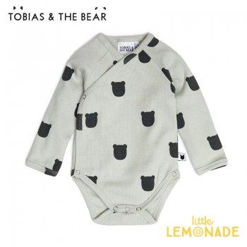 【Tobias & The Bear】 Sage Bear kimono bodysuit 【3-6/6-12/12-18か月】 前開きロンパース  クマ 21AW (SABEKI)