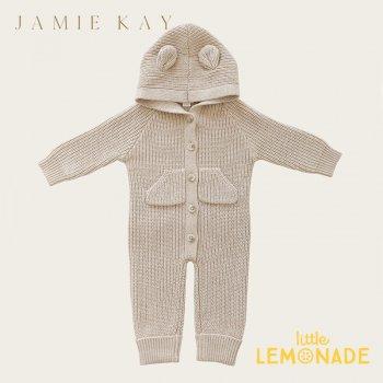 【Jamie Kay】 BEAR ONEPIECE - NEW WHEAT MARLE   【6-12か月/1歳】 ベア ワンピース オフホワイト クマ耳付 21AW