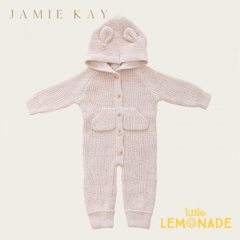 【Jamie Kay】 BEAR ONEPIECE - BUTTERFLY FLECK 【6-12か月/1歳】 ベア ワンピース ピンク PINK クマ耳付 21AW