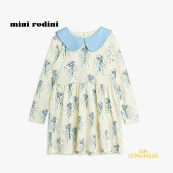 【Mini Rodini】 Winterflowers aop ls dress / Blue  【3歳-5歳 / 5歳-7歳 】(2175010460)  21AW YKZ