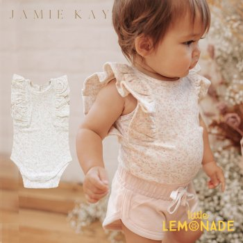 【Jamie Kay】 FRILL SINGLET BODYSUIT - LIMONIUM FLORAL   【6-12か月/1歳】 ボディスーツ フリル 花柄 21AW YKZ