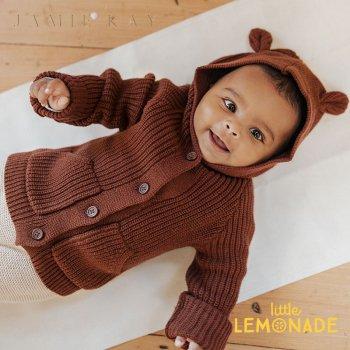 【Jamie Kay】 BEAR CARDIGAN - CINNAMON MARLE   【6-12か月/1歳/2歳】 ベアカーディガン ブラウン ニット 21AW