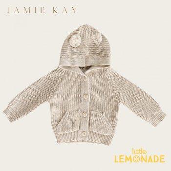 【Jamie Kay】 BEAR CARDIGAN - NEW WHEAT MARLE   【6-12か月/1歳/2歳】 ベージュ ベアカーディガン ニット 21AW