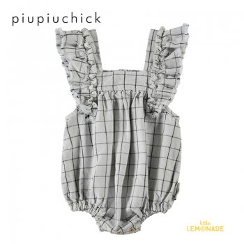 <img class='new_mark_img1' src='https://img.shop-pro.jp/img/new/icons1.gif' style='border:none;display:inline;margin:0px;padding:0px;width:auto;' />【piupiuchick】 baby romper w/ frills on shoulders/light grey 【 6か月/18か月】ロンパース 21AW (AW21.BB2101A) YKZ