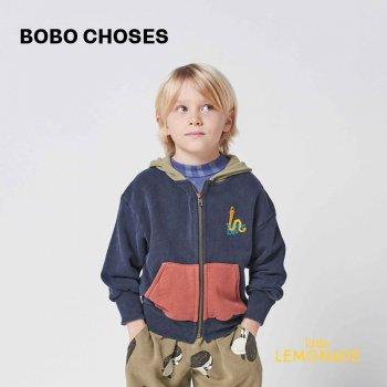 【BOBO CHOSES】 Scholar Worm zipped hoodie 【2-3歳 / 4-5歳】  221AC045 長袖フード付きパーカー あおむし 21AW YKZ