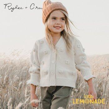 【Rylee+Cru】 FLOUNCE CARDIGAN STONE 【2-3/4-5/6-7/8-9歳】 RC341TN  21AW カーディガン アップリケ  ykz
