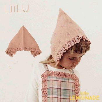 【LiiLu】 Editha Bonnet 【6-18か月/2-4歳】 ボンネット ピンク フリル 花 刺繍 ハット 帽子 ドイツ リール YKZ