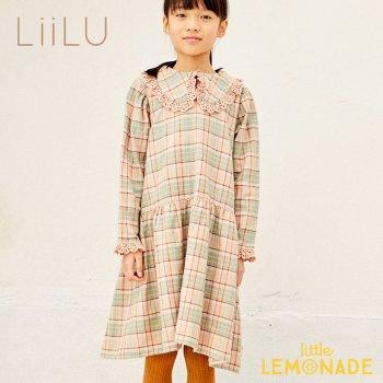 【LiiLu】 Lola Dress 【2歳/4歳/6歳/8歳】 ワンピース チェック柄 フリル  長袖 キッズ ドレス ドイツ リール YKZ