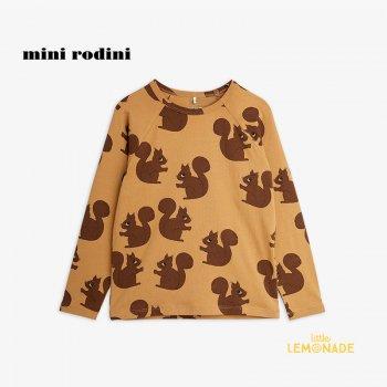 【Mini Rodini】 Squirrel aop raglan ls tee / Brown  【 9か月-1.5歳 / 1.5-3歳 / 3-5歳 】 (21720125)  21AW YKZ