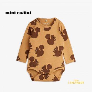 【Mini Rodini】 Squirrels aop ls body / Brown 【4か月-9か月/9か月-1.5歳 】 (21740108)  長袖ボディ 21AW YKZ