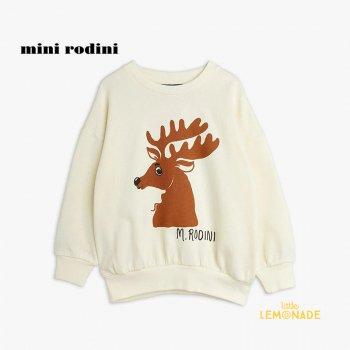 【Mini Rodini】 Deer sp sweatshirt / Offwhite 【1.5歳-3歳 / 3歳-5歳 / 5歳-7歳 】 (21720162)  長袖スウェット 21AW YKZ