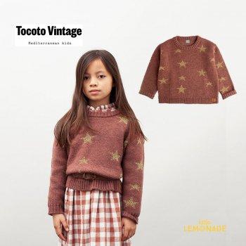 【Tocoto Vintage】 LUREX STARS KNITED JERSEY / DARK PINK 【6歳 / 8歳】 ニットセーター 星柄  (W50621)  21AW YKZ