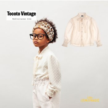 【Tocoto Vintage】 PLUMETI KID BLOUSE / OFF-WHITE 【6歳 / 8歳】 ブラウス チュールシアースリーブ  (W90821)  21AW YKZ