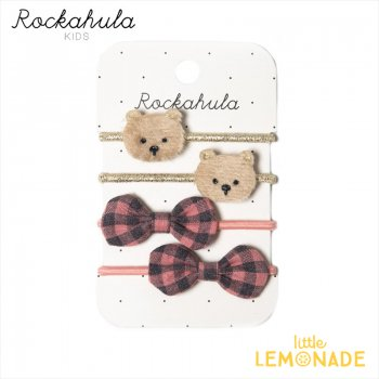 <img class='new_mark_img1' src='https://img.shop-pro.jp/img/new/icons1.gif' style='border:none;display:inline;margin:0px;padding:0px;width:auto;' />【Rockahula  Kids】Teddy Bear Ponies-BROWN/テディベアとチェック柄リボンのヘアゴム 4個セット(H1623B)