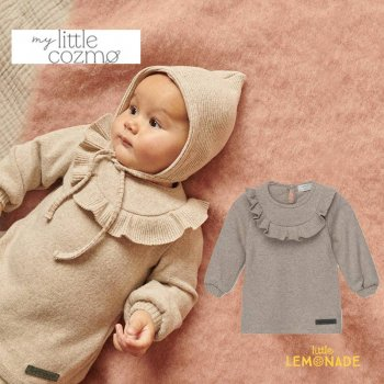 <img class='new_mark_img1' src='https://img.shop-pro.jp/img/new/icons1.gif' style='border:none;display:inline;margin:0px;padding:0px;width:auto;' />【MY LITTLE COZMO】 baby ruffle dress recycled / beige  【12か月 / 24か月 】 (CAROL140) ベビー 長袖 ワンピ YKZ 21AW