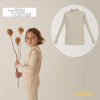 <img class='new_mark_img1' src='https://img.shop-pro.jp/img/new/icons1.gif' style='border:none;display:inline;margin:0px;padding:0px;width:auto;' />【MY LITTLE COZMO】 organic girls ribbed ruffle t-shirt / stone  【4歳/6歳/8歳】 (ELISEK143)  YKZ 21AW