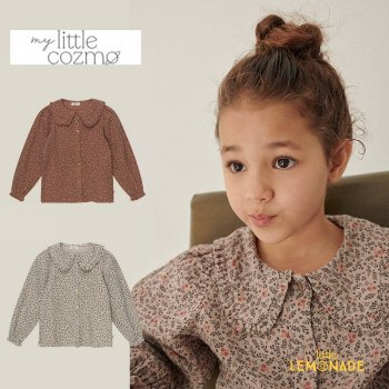 <img class='new_mark_img1' src='https://img.shop-pro.jp/img/new/icons1.gif' style='border:none;display:inline;margin:0px;padding:0px;width:auto;' />【MY LITTLE COZMO】 organic girls printed blouse brown / stone  【4歳/6歳/8歳】 (ELNAK133) YKZ 21AW
