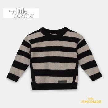 <img class='new_mark_img1' src='https://img.shop-pro.jp/img/new/icons1.gif' style='border:none;display:inline;margin:0px;padding:0px;width:auto;' />【MY LITTLE COZMO】 striped baby sweater recycled / beigeblack  【12か月 / 24か月 】 (FIONN141)  YKZ 21AW