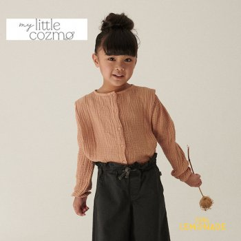 <img class='new_mark_img1' src='https://img.shop-pro.jp/img/new/icons1.gif' style='border:none;display:inline;margin:0px;padding:0px;width:auto;' />【MY LITTLE COZMO】 organic girls blouse stone / pink  【4歳 / 6歳 / 8歳 】 (GINAK132)  ブラウス YKZ 21AW