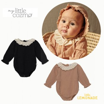 <img class='new_mark_img1' src='https://img.shop-pro.jp/img/new/icons1.gif' style='border:none;display:inline;margin:0px;padding:0px;width:auto;' />【MY LITTLE COZMO】 organic baby lace romper dark grey / pink  【12か月 / 24か月 】 (JULIE132)   YKZ 21AW