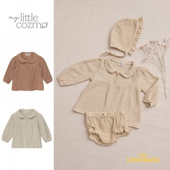<img class='new_mark_img1' src='https://img.shop-pro.jp/img/new/icons1.gif' style='border:none;display:inline;margin:0px;padding:0px;width:auto;' />【MY LITTLE COZMO】 organic baby blouse stone / pink  【12か月 / 24か月 】 (MARIA132)  ガーゼレースブラウス YKZ 21AW