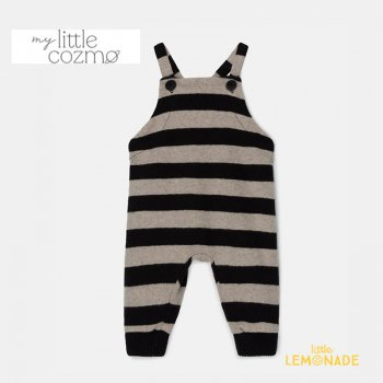 <img class='new_mark_img1' src='https://img.shop-pro.jp/img/new/icons1.gif' style='border:none;display:inline;margin:0px;padding:0px;width:auto;' />【MY LITTLE COZMO】 striped baby overalls recycled /beigeblack  【12か月 / 24か月 】 (ROBIN141) YKZ 21AW