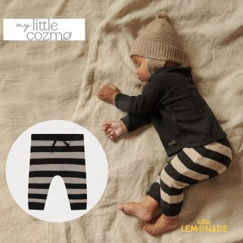 <img class='new_mark_img1' src='https://img.shop-pro.jp/img/new/icons1.gif' style='border:none;display:inline;margin:0px;padding:0px;width:auto;' />【MY LITTLE COZMO】 striped baby sweatpants recycled /beigeblack  【6か月 / 12か月】 (RUNE141) パンツ  YKZ 21AW