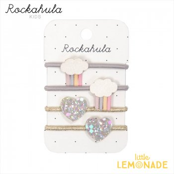 <img class='new_mark_img1' src='https://img.shop-pro.jp/img/new/icons1.gif' style='border:none;display:inline;margin:0px;padding:0px;width:auto;' />【Rockahula  Kids】Rainy Cloud Ponies PASTEL/パステルレインボークラウドとハートのヘアゴム 4個セット (H1625S)