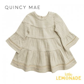 <img class='new_mark_img1' src='https://img.shop-pro.jp/img/new/icons1.gif' style='border:none;display:inline;margin:0px;padding:0px;width:auto;' />【Quincy Mae】 BELLE DRESS | BASIL STRIPE 【2-3歳/4-5歳】 QM051BAN AW21 長袖 ワンピース YKZ