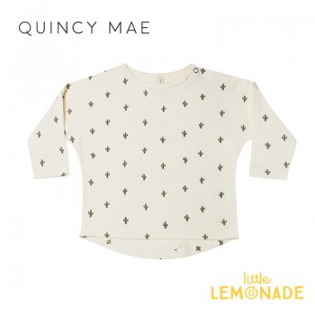 <img class='new_mark_img1' src='https://img.shop-pro.jp/img/new/icons1.gif' style='border:none;display:inline;margin:0px;padding:0px;width:auto;' />【Quincy Mae】 LONGSLEEVE TEE | CACTUS 【12-18か月/18-24か月/2-3歳】QM005RY AW21 カクタス サボテン ジャージー トップス YKZ